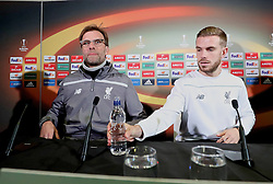 MANCHESTER, ENGLAND - Wednesday, March 16, 2016: Liverpool's manager Jürgen Klopp and captain Jordan Henderson during a press conference at Old Trafford ahead of the UEFA Europa League Round of 16 2nd Leg match against Manchester United. (Pic by David Rawcliffe/Propaganda)