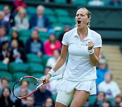 01.07.2014, All England Lawn Tennis Club, London, ENG, WTA Tour, Wimbledon, im Bild Petra Kvitova (CZE) celebrates winning the Ladies' Singles Quarter-Final match 6-1, 7-5 on day eight // during the Wimbledon Championships at the All England Lawn Tennis Club in London, Great Britain on 2014/07/01. EXPA Pictures © 2014, PhotoCredit: EXPA/ Propagandaphoto/ David Rawcliffe<br /> <br /> *****ATTENTION - OUT of ENG, GBR*****