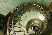 stairway of Lighthouse Eckmülh in Penmarc'h..for article by Steven Erlanger on the state of lighthouses in France..Photo by Owen Franken for the NY Times..April 7, 2008