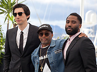 Adam Driver, Director Spike Lee and John David Washington at the Blackkklansman (Black Klansman)  film photo call at the 71st Cannes Film Festival, Tuesday 15th May 2018, Cannes, France. Photo credit: Doreen Kennedy