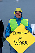 Bar Harbor, Maine, USA. 03 January, 2019. Indivisible MDI organizes a rally for the new congressional session. ©2019 Jennifer Steen Booher/Alamy Live News