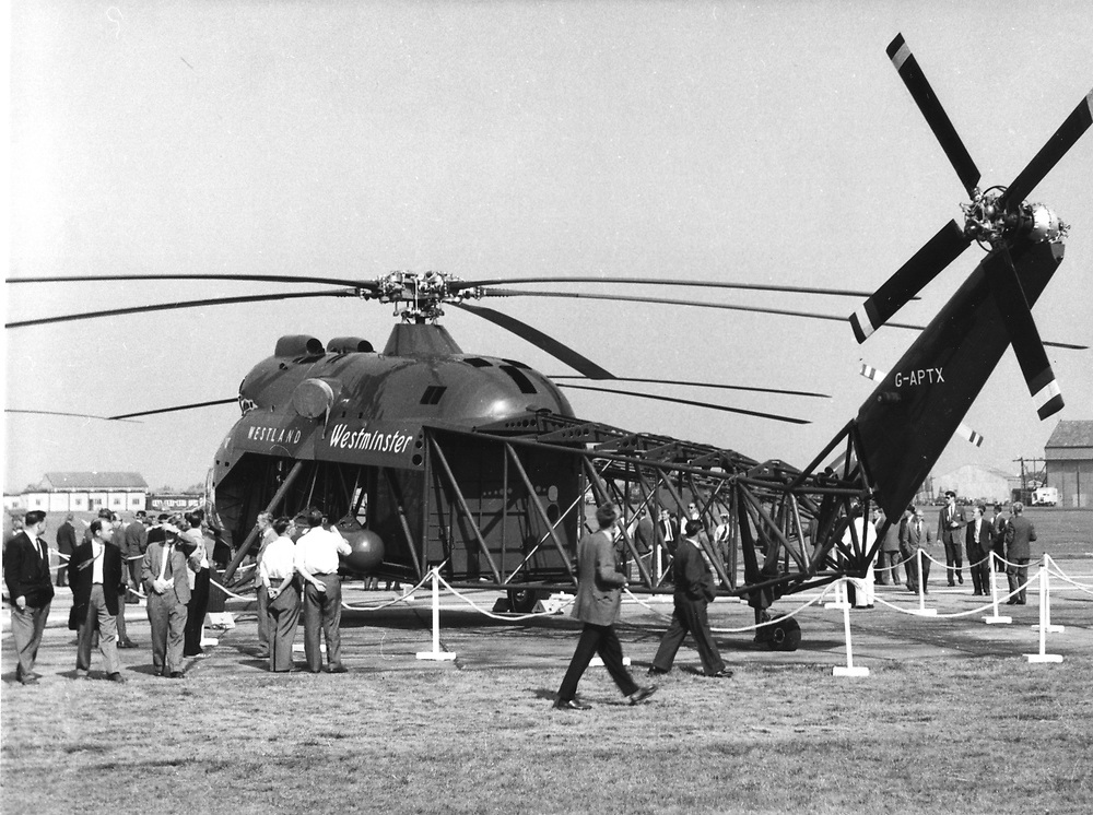 Westland Westminster helicopter on display at the Farnborough airshow 1959. Photograph by Nicholas Snowdon.