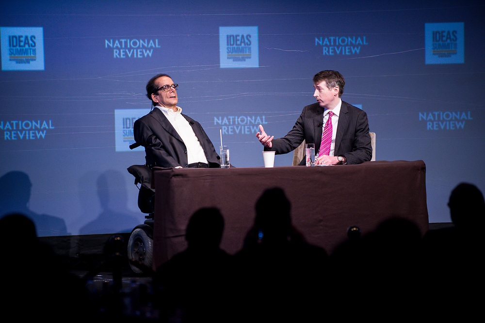 Rich Lowry, editor of National Review, interviews Charles Krauthammer, Pulitzer Prize winner and Fox News commentator, at the 2017 National Review Ideas Summit at the Mandarin Oriental Hotel in Washington, D.C. on May 17, 2017.