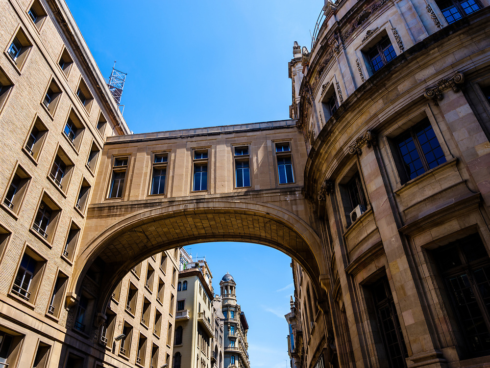 BARCELONA, SPAIN - CIRCA MAY 2018: Bridge between two buildings in Barcelona