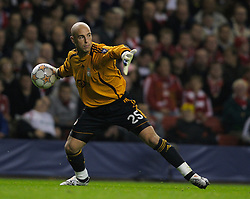 Liverpool, England - Wednesday, October 3, 2007: Liverpool's goalkeeper Jose Pepe Reina in action against Olympique de Marseille during the UEFA Champions League Group A match at Anfield. (Photo by David Rawcliffe/Propaganda)