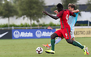 Portugal forward Herculano Nabian (9) and Slovenia midfielder Gal Puconja (8) fight for possession of the ball during a CONCACAF boys under-15 championship soccer game, Sunday, August 11, 2019, in Bradenton, Fla. Portugal defeated Slovenia in the final in 2-0. (Kim Hukari/Image of Sport)