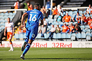 Peterborough United defender celebrates opening goal for Posh during the EFL Sky Bet League 1 match between Peterborough United and Blackpool at The Abax Stadium, Peterborough, England on 29 September 2018.