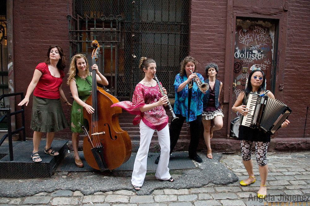 The all-woman klezmer band Isle of Klezbos is photographed in a portrait and in performance at the 92Y Tribeca in New York City on July 26, 2011...Photo by Angela Jimenez .www.angelajimenezphotography.com