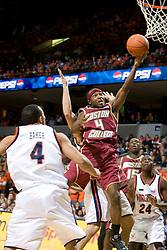 Boston College guard Tyrese Rice (4) shoots against UVA.  The Virginia Cavaliers men's basketball team faced the Boston College Golden Eagles at the John Paul Jones Arena in Charlottesville, VA on January 19, 2008.