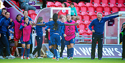 LLANELLI, WALES - Saturday, August 31, 2013: France's Aminata Diallo celebrates scoring the second goal against against England during the Final of the UEFA Women's Under-19 Championship Wales 2013 tournament at Parc y Scarlets. (Pic by David Rawcliffe/Propaganda)
