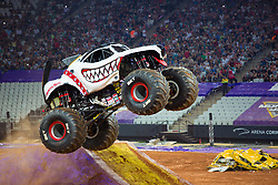 December 16, 2017 - Sao Paulo, Sao Paulo, Brazil - Monster Mutt jumps hight during a round of racing. Monster Jam was held at Corinthians Stadium, in Sao Paulo, Brazil. (Credit Image: © Paulo Lopes via ZUMA Wire)