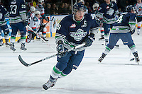 KELOWNA, CANADA -FEBRUARY 10: Justin Hickman #9 of the Seattle Thunderbirds warms up against the Kelowna Rockets on February 10, 2014 at Prospera Place in Kelowna, British Columbia, Canada.   (Photo by Marissa Baecker/Getty Images)  *** Local Caption *** Justin Hickman;