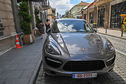 A Porsche parked in the street. Photographed in Batumi, Georgia