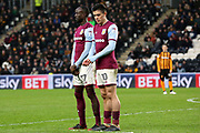 Aston Villa midfielder Albert Adomah (37) and Aston Villa midfielder Jack Grealish (10) form a two man wall during the EFL Sky Bet Championship match between Hull City and Aston Villa at the KCOM Stadium, Kingston upon Hull, England on 31 March 2018. Picture by Mick Atkins.