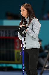 Great Britain skipper Eve Muirhead appears dejected after defeat during the Women's Semi-Final against Sweden at the Gangneung Curling Centre during day fourteen of the PyeongChang 2018 Winter Olympic Games in South Korea.