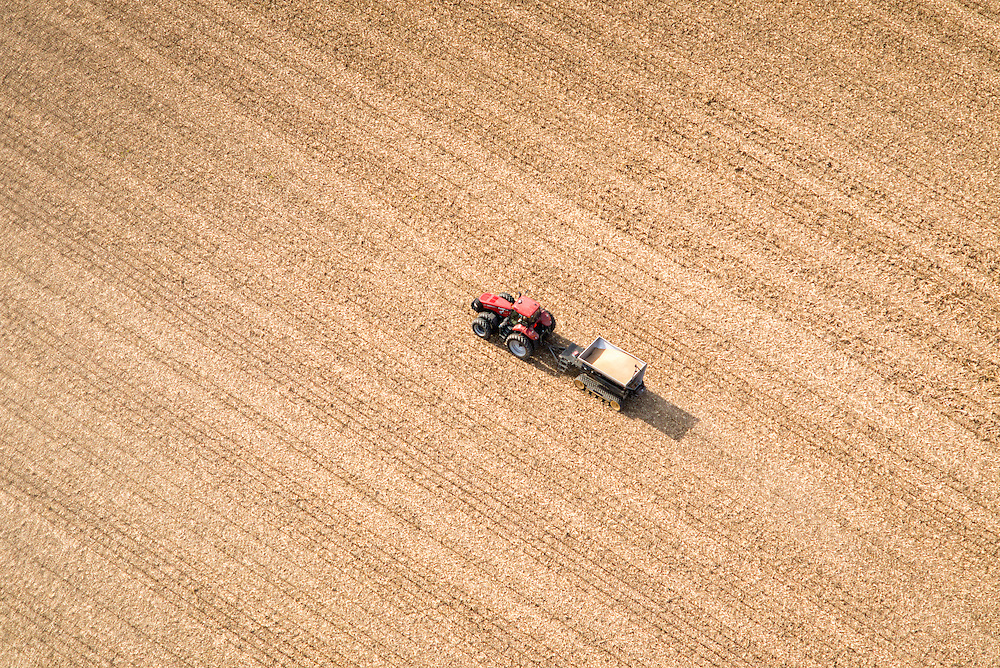 aerial of soybean harvest in Kent County MD