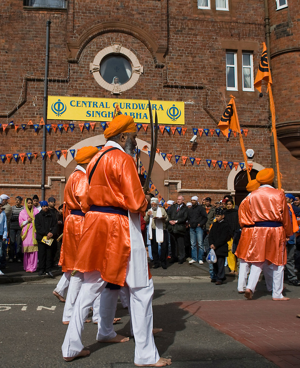 Glasgow, Baisakhi celebrations April 6 2008...Vaisakhi, also spelled Baisakhi, is one of the most important dates in the Sikh calendar. It is the Sikh New Year festival and the anniversary of the founding of Khalsa (the Sikh brotherhood) in 1699.  It usually falls on 13 or 14 April according to the Sikh solar calendar, and celebrations take place throughout April and May..The processions are led by traditionally dressed Panj Piare,or 'Beloved Five'. to commemorate the first five men  baptised into the Khalsa by the Guru
