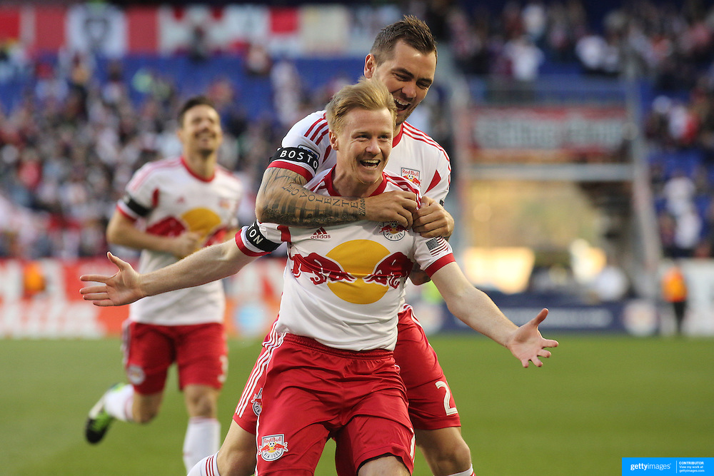 Dax McCarty, (front), New York Red Bulls, celebrates after scoring with team mate Jonny Steele during the New York Red Bulls V New England Revolution, Major League Soccer regular season match at Red Bull Arena, Harrison, New Jersey. USA. 20th April 2013. Photo Tim Clayton