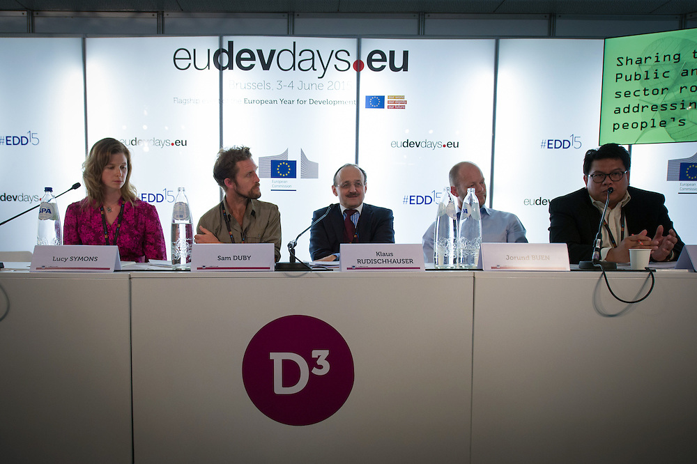 04 June 2015 - Belgium - Brussels - European Development Days - EDD - Energy - Sharing the load - Public and private sector roles in addressing poor people&rsquo;s energy needs - Lucy Symons , Co-founder, Village Infrastructure - Sam Duby , <br /> Founder and CTO, SteamaCo - Klaus Rudischhauser , <br /> Deputy Director General at DG for International Cooperation and Development - Jorund Buen ,<br /> Co-Founder and Partner, Differ Group - Fabby Tumiwa ,<br /> Executive Director of Institute for Essential Services Reform (IESR)&copy; European Union