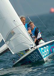 10.08.2012, Bucht von Weymouth, GBR, Olympia 2012, Segeln, im Bild .SILVER:.Clark Saskia, Mills Hannah, (GBR, 470 Women) // during Sailing, at the 2012 Summer Olympics at Bay of Weymouth, United Kingdom on 2012/08/10. EXPA Pictures © 2012, PhotoCredit: EXPA/ Daniel Forster ***** ATTENTION for AUT, CRO, GER, FIN, NOR, NED, .POL, SLO and SWE ONLY!
