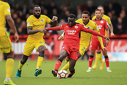 Bobson Bawling of Crawley Town under pressure from Hiram Boateng of Bristol Rovers and Cristian Montano of Bristol Rovers - Mandatory by-line: Jason Brown/JMP - 05/11/2016 - FOOTBALL - Checkatrade.com Stadium - Crawley, England - Crawley Town v Bristol Rovers - Emirates FA Cup first round