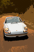 Image of a sports car on a road in Monterey, central California coast, early Porsche 911T RS, property released
