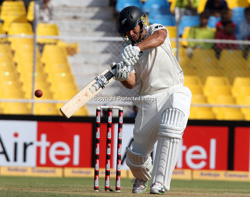 New Zealand Batsman Rosse Taylor Hit The Shot Against India During The 1st Test Match India vs New Zealand Day-3 Played at Sardar Patel Stadium, Motera, Ahmedabad 6, November 2010 (5-day match)