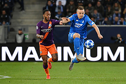 SINSHEIM, Oct. 3, 2018  Pavel Kaderabek of Hoffenheim (R) and Raheem Sterling of Manchester City battle for the ball during the Group F match of the UEFA Champions League between Hoffenheim of Bundesliga and Manchester City of Premier league at Wirsol Rhein-Neckar-Arena in Sinsheim, Germany, Oct. 2, 2018. Manchester City won 2-1. (Credit Image: © Ulrich Hufnagel/Xinhua via ZUMA Wire)