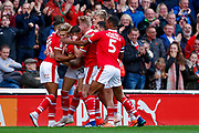 Barnsley midfielder Brad Potts (20) scores a goal and celebrates to make the score 1--0 during the EFL Sky Bet League 1 match between Barnsley and Luton Town at Oakwell, Barnsley, England on 13 October 2018.