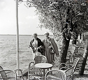 two woman posing by lake Netherlands 1950s