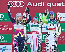 13.02.2011, Kandahar, Garmisch Partenkirchen, GER, FIS Alpin Ski WM 2011, GAP, Damen Abfahrt, im Bild zweite, silber Medaille, Lindsey Vonn (USA), Goldmedaillen Gewinnerin und Weltmeisterin Elisabeth Goergl (AUT), dritte, bronze Medaille Maria Riesch (GER) // second, siver Medal Lindsey Vonn (USA), World Champion and Gold Medal Winner Elisabeth Goergl (AUT), third, bronze Medal Maria Riesch (GER) during womens Downhill, Fis Alpine Ski World Championships in Garmisch Partenkirchen, Germany on 13/2/2011, 2011, EXPA Pictures © 2011, PhotoCredit: EXPA/ J. Feichter