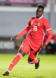 NEWPORT, WALES - Tuesday, October 16, 2018: Wales' Momodou Touray in action during the UEFA Under-21 Championship Italy 2019 Qualifying Group B match between Wales and Switzerland at Rodney Parade. (Pic by Laura Malkin/Propaganda)