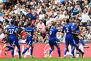 20th August 2017, Wembley Stadium, London, England; EPL Premier League football, Tottenham Hotspur versus Chelsea; Victor Moses of Chelsea lifts Marcos Alonso of Chelsea in the air as they celebrate his goal
