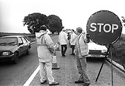 A46 'STOP' sign, Solsbury Hill, Somerset, UK, 1994.