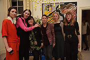 VALERIA NAPOLEONE; LOUISE WILSON; JANE WILSON; STEFANIA PRAMMA;, MOLLIE GODDARD; ALICE GODDARD, Stefania Pramma launched her handbag brand PRAMMA  at the Kensington residence of her twin sister, art collector Valeria Napoleone.. London.  29 April 2015