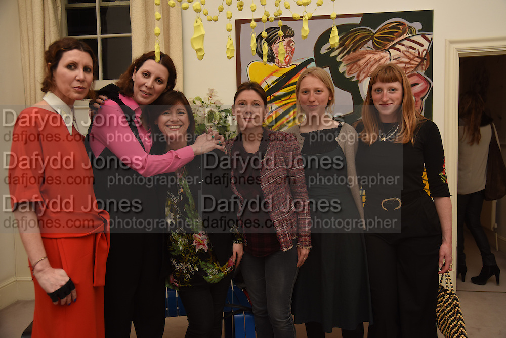 VALERIA NAPOLEONE; LOUISE WILSON; JANE WILSON; STEFANIA PRAMMA;, MOLLIE GODDARD; ALICE GODDARD, Stefania Pramma launched her handbag brand PRAMMA  at the Kensington residence of her twin sister, art collector Valeria Napoleone.. London.  29 April 2015
