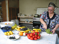russian woman prepares fruits