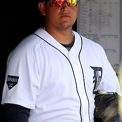 March 9, 2011; Lakeland, FL, USA; Detroit Tigers first baseman Miguel Cabrera (24) in the dugout before a spring training exhibition game against the Philadelphia Phillies at Joker Marchant Stadium.   Mandatory Credit: Derick E. Hingle