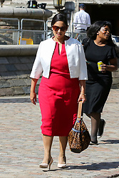© Licensed to London News Pictures. 23/07/2019. London, UK. Priti Patel arrives for the result of the Conservative Party leadership race at  QEII Centre. Photo credit: Dinendra Haria/LNP