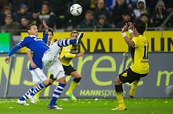 26.11.2011, Signal Iduna Park, Dortmund, GER, 1. FBL, Borussia Dortmund vs FC Schalke 04, im Bild Zweikampf Jermaine Jones (#13 Schalke) - Lucas Barrios (#18 Dortmund) // during Borussia Dortmund vs. FC Schalke 04 at Signal Iduna Park, Dortmund, GER, 2011-11-26. EXPA Pictures © 2011, PhotoCredit: EXPA/ nph/ Kurth..***** ATTENTION - OUT OF GER, CRO *****