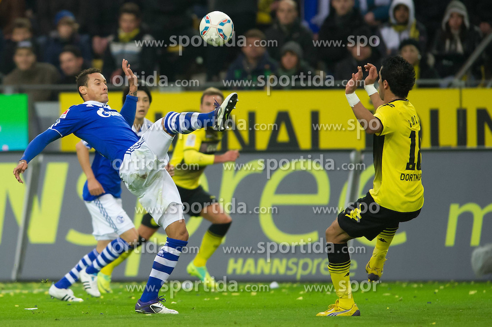 26.11.2011, Signal Iduna Park, Dortmund, GER, 1. FBL, Borussia Dortmund vs FC Schalke 04, im Bild Zweikampf Jermaine Jones (#13 Schalke) - Lucas Barrios (#18 Dortmund) // during Borussia Dortmund vs. FC Schalke 04 at Signal Iduna Park, Dortmund, GER, 2011-11-26. EXPA Pictures © 2011, PhotoCredit: EXPA/ nph/ Kurth..***** ATTENTION - OUT OF GER, CRO *****