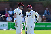 Matt Renshaw of Somerset and Steve Davies of Somerset during the Specsavers County Champ Div 1 match between Somerset County Cricket Club and Worcestershire County Cricket Club at the Cooper Associates County Ground, Taunton, United Kingdom on 20 April 2018. Picture by Graham Hunt.