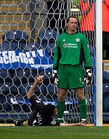 Photo. Glyn Thomas, Digitalsport.<br /> Blackburn Rovers v Leicester City. <br /> FA Barclaycard Premiership. 17/04/2004.<br /> Leicester's Nikos Dabizas' (L) own goal puts Blackburn a goal as keeper Ian Walker looks on dejectedly.