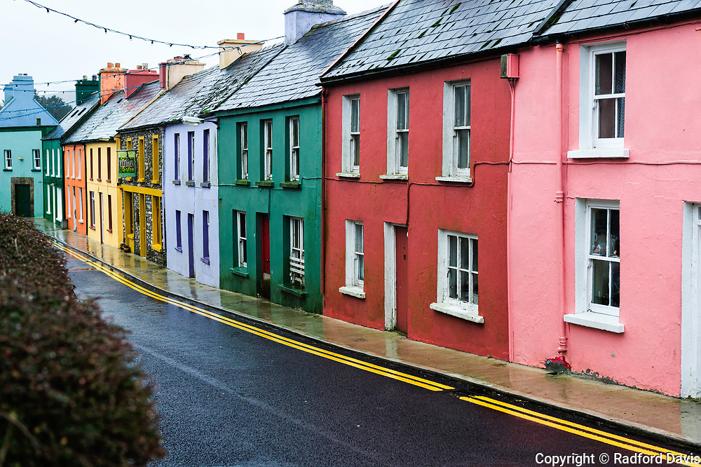 Colorful, bright houses in Ireland. Ring of Beara.