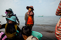 Crab fishermen in the early morning in Kep, Cambodia.