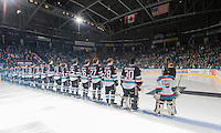 KELOWNA, CANADA - SEPTEMBER 25: Kelowna Rockets line up during the season home opener against the Kamloops Blazers on September 25, 2015 at Prospera Place in Kelowna, British Columbia, Canada.  (Photo by Marissa Baecker/Shoot the Breeze)  *** Local Caption ***
