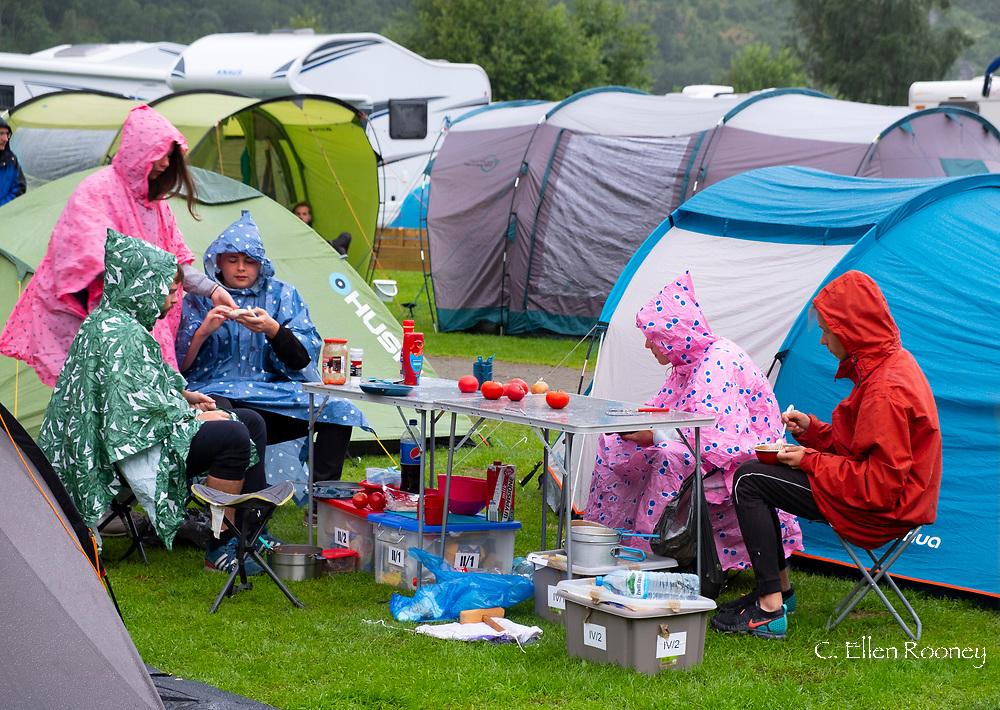 A rainy day at the Geiranger camp site, Geiranger, Vestlandet, Norway