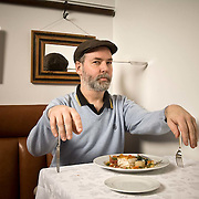 Author Douglas Coupland at Bishops Restaurant in Vancouver for The Observer.