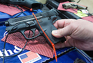 December 16th,  Semi automatic Smith & Wesson handgun, at the <br /> gun show at the Pontchartrain Center in Kenner Louisiana held by Great Southern Gun and Knife Shows L.L. C.. Gun sales have increased since the school shooting massacre in Sandy Hook Connecticut, especially AR 15s, as gun owners fear new legislature will soon regulate sales of  semi automatic guns.