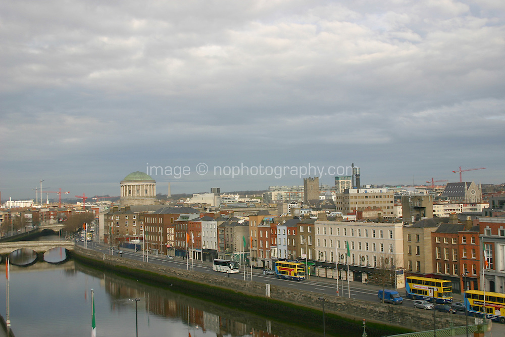 View of Dublin city towards the Four Courts and the River Liffey, Ireland